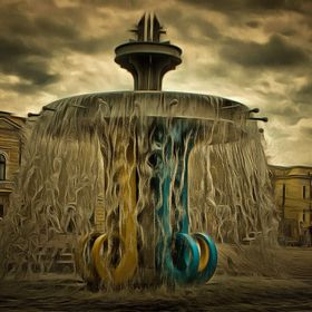 Fountain on an area of Heroes Square central square of the city Kropyvnytskyi (Kirovohrad)  The oldest area of Kropivnitskiy town that on 14 Se...