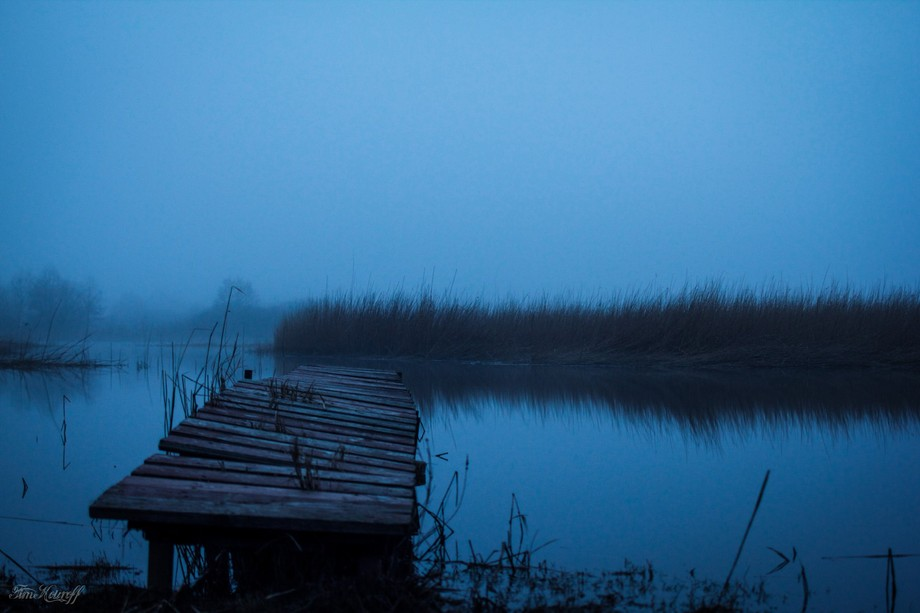 an abandoned pier in the Pape Natural Park. Pape lake, Latvia