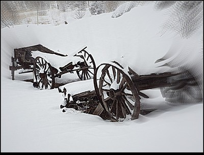 Ranch Wagons in Winter Snow Storm