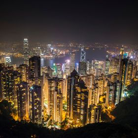 Hong Kong is one of the most amazing places to watch the building lights come on.  This picture is looking down from Victoria Peak.  Victoria Pea...