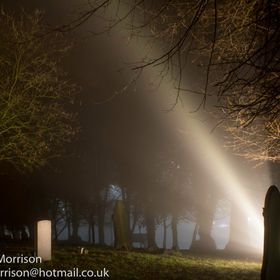 Fog rolling through the graveyard at 3 in the morning eerily lit by some floodlights.
