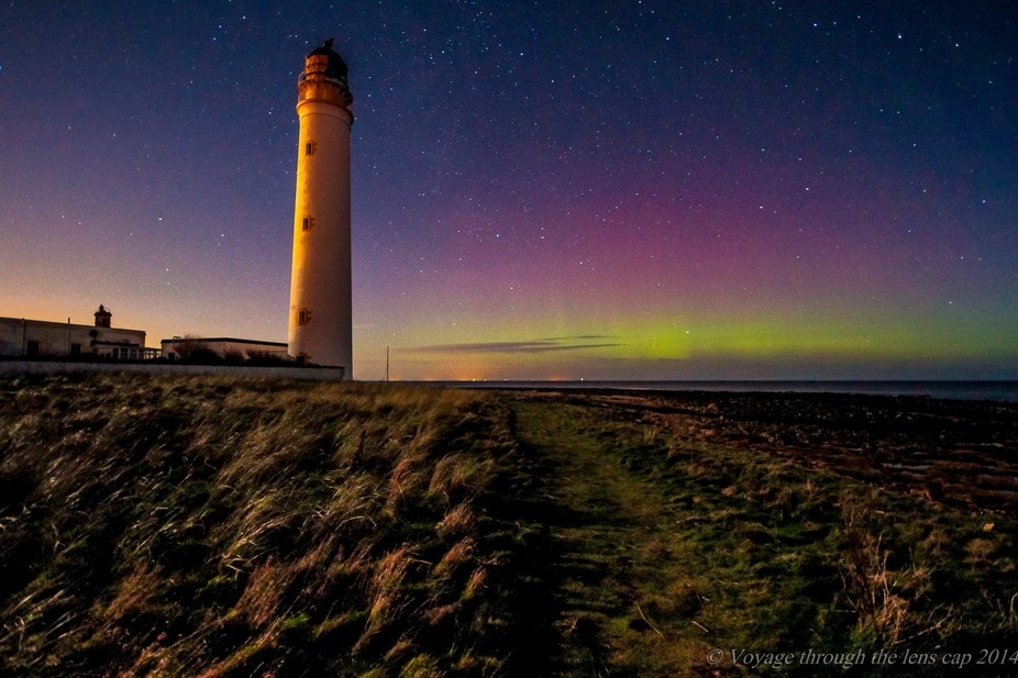 This is a picture of the Aurora Borealis (Northern Lights) taken at Barns Ness lighthouse, east o...