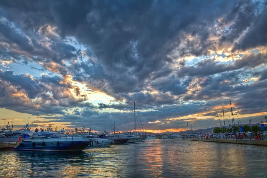 Interesting cloud formations above Flisvos Marina, Faliro, Athens, Hellas.