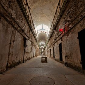 Two story cell block in Eastern State Penitentiary. This place is worth a visit if you are in the Philly area. I have to give a little nod to Mar...