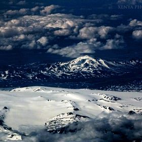flyover view of Bardarbunga volcano, Iceland en route from Norway to Iceland