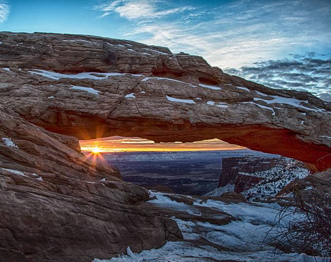The glow of the Sunrise through Mesa Arch in Canyonlands National Park by brentmorris - Sun Flares Photo Contest
