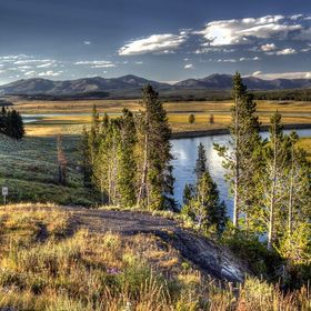 Evening is approaching and the sun gets lower over Hayden Valley in Yellowstone National Park.