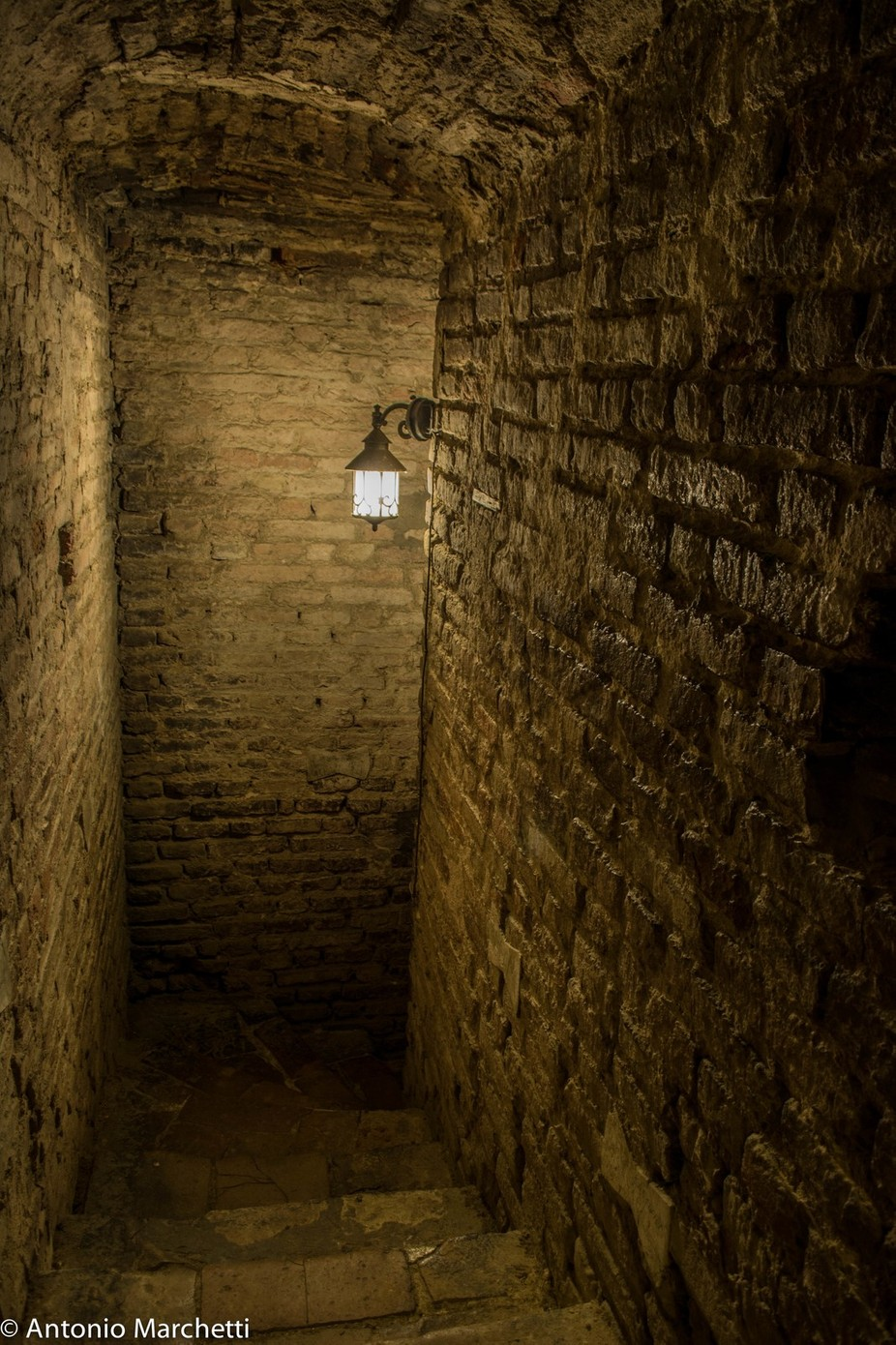 Medieval stairs in the campanile of Forlì.