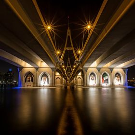 Business bay Bridge in dubai was in the night very nice.