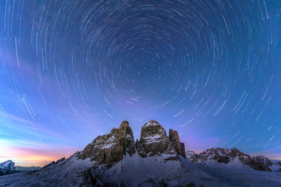 So a very cold night was spent up at the Tre Cime. It turns out if you leave the shutter open too long in -18 it freezes open - will log that away for the future. Spent 40 minutes lying in the snow to protect the camera from strong winds. But, was chuffed with the end result.