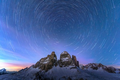Tre Cime south faces by night