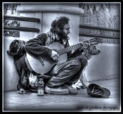 Man, Guitar, Dog