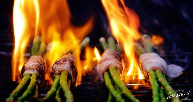 Fire grilled bacon wrapped asparagus by martinesansoucy - Delicious Photo Contest