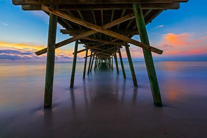 Bogue Inlet Pier at Daybreak by KennethKeifer - The View Under The Pier Photo Contest