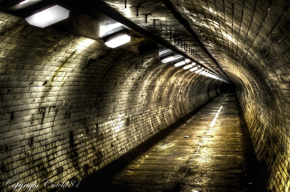 Greenwich tunnel HDR in London.