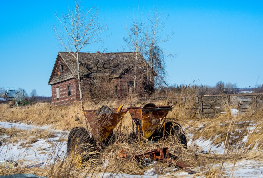 A disused farmhouse and some farm equipment in the adjacent pasture make for a nostalgic image
