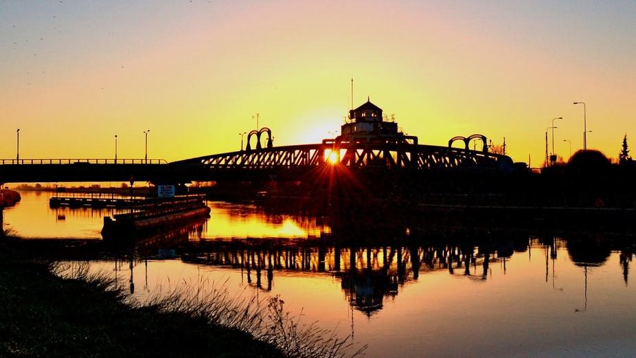 swing bridge sunset