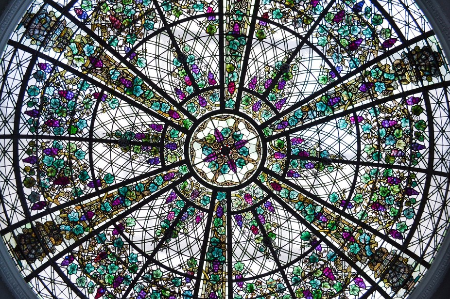 Stained glass dome in the garden room at Casa Loma, Toronto