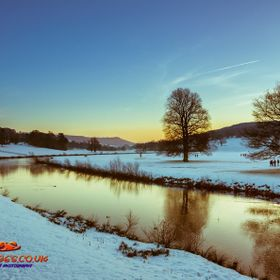 Sunsets over the River Derwent in the grounds of Chatsworth House, Derbyshire