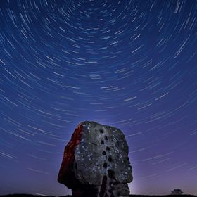 Star Trail over a rock feature known locally as The Cork on Stanton Moor in the Derbyshire Peak District. This small moor is the ancient site of ...