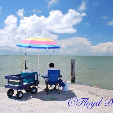 Summer Blue Sky at Texas City Dike.