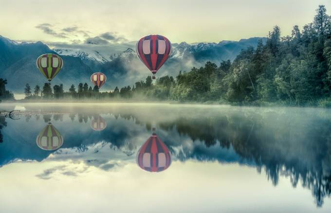 New Zealand - Balloons over Lake Matheson by jacobsurland