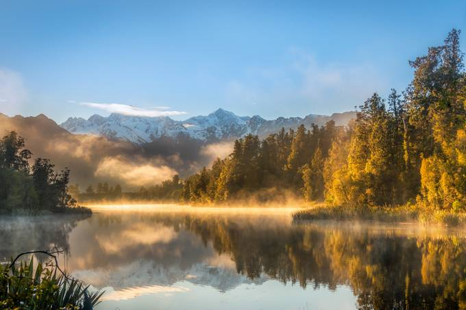 New Zealand - Golden Sunrise at Lake Matheson by jacobsurland