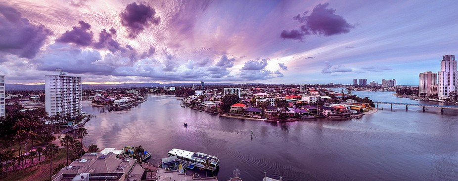 This photo was taken on top of the Tiki Village roof area. It is a scene of the Nerang River and ...