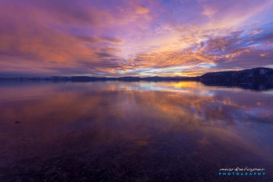 The Magnificent sunset from the beaches of Incline Village, Lake Tahoe, Nevada on Feb 2, 2013. Th...