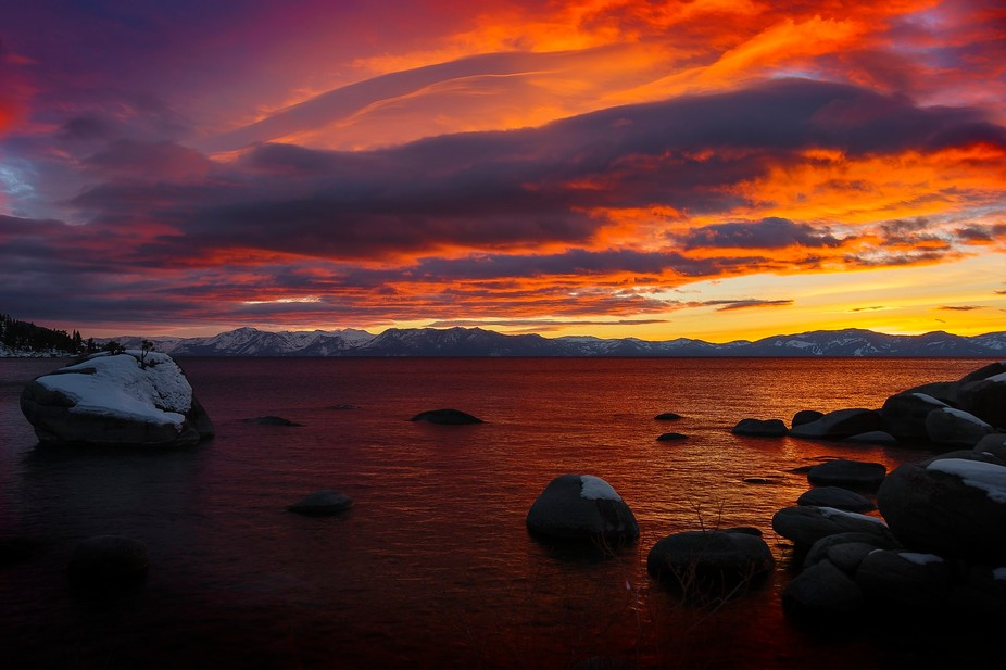 Sunset at Bonsai Rock Lake Tahoe