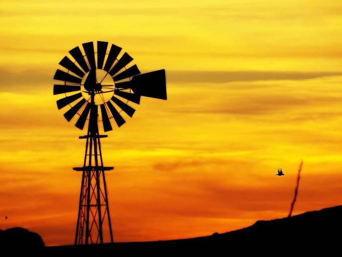 City Of The Rocks Windmill Sundown Silhouette by 1Ernesto - 200 Windmills Photo Contest