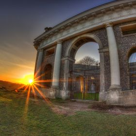 West Wycombe Mausoleum at Sunset.