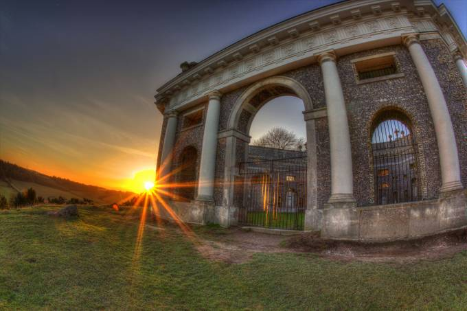 West Wycombe Mausoleum at Sunset. by PeteEleyImages - Sun Flares Photo Contest
