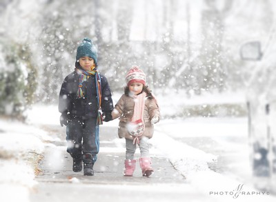 Walking in the snow !
