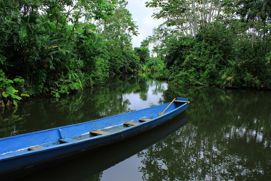A wood river boat on a river in the Ecuadorian rain forest in Mishaulli, Ecuador