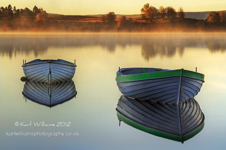 A touch of early morning mist at Loch Rusky in the Scottish Trossachs.  HDR - 3 images @ ±2EV, p...