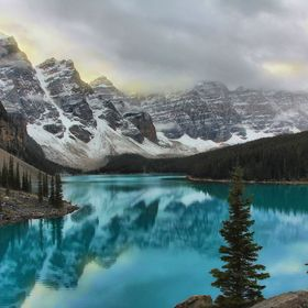 Early morning reflection at Moraine Lake Alberta