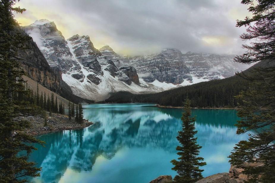 Early morning reflection at Moraine Lake Alberta