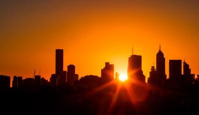Silhouette City Sunset