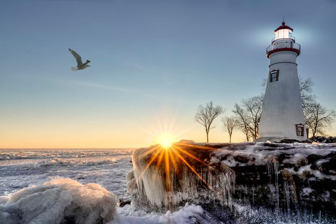 Marblehead Lighthouse Winter Sunrise by Michael_Shake - Sun Flares Photo Contest