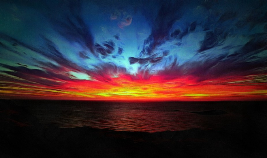 my favourite sun set pic taken recently and edited to appear 'painted'. I staye...