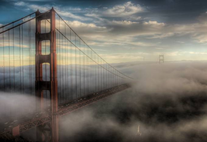 Golden Fog by JourneysInLight - Lost In The Fog Photo Contest