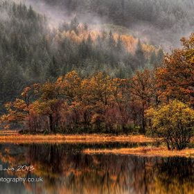 A misty, moisty Autumn morning at Loch Chon in the Scottish Trossachs - part of the Loch Lomond and Trossachs National Park