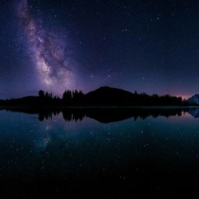 This is a 6 vertical photo Panorama taken one dark night at the Oxbow bend