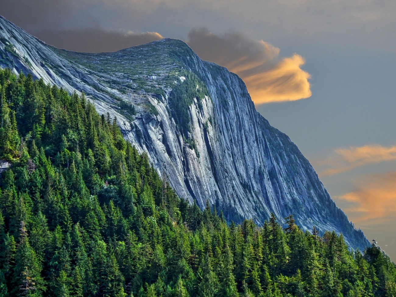 Misty Fiords National Monument in Ketchikan, Alaska.  Amazing granite cliffs and waterfalls offer great views of this wilderness.