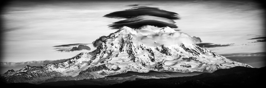 Mount Rainier with Lenticular clouds. I've waited years to be in the right place at the ...