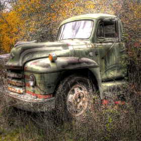 HDR image of an abandoned truck in a field off Caves Highway in Cave Junction, Oregon