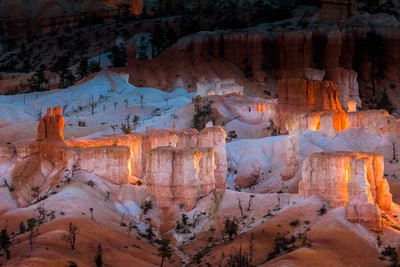 First Rays of the Sun Striking the Hoodoos in Bryce Canyon