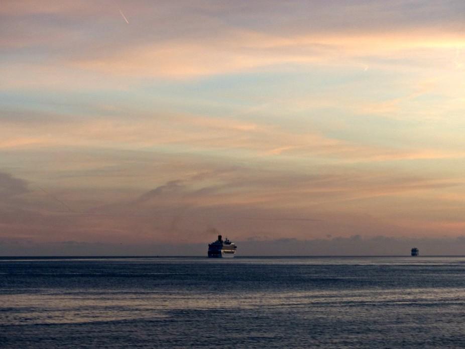 on the Lisbon coast at sunset