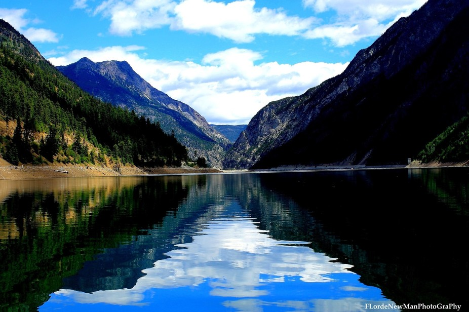 This is the Carpenter Lake in Chilcotin Mountain Range in BC Canada. showing the reflection of th...